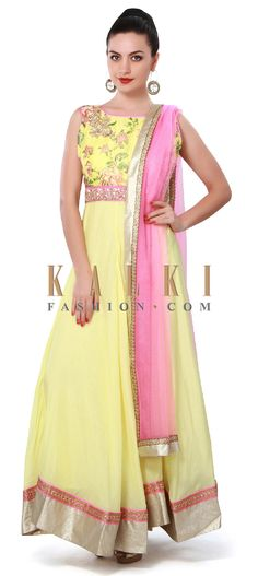 Buy Online from the link below. We ship worldwide (Free Shipping over US$100). Product SKU - 317741. Product Price - $159.00. Product Link - http://www.kalkifashion.com/yellow-anarkali-suit-adorn-in-zardosi-and-floral-print-only-on-kalki.html