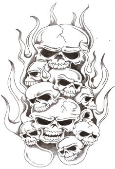Skulls And Flames 2 By TheLob Tattoomaze Flame Tattoo Design Coloring Pages