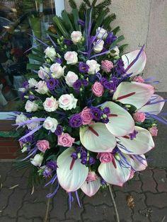 Grave Flowers, Cemetery Flowers, Church Flowers, Funeral Flowers, Funeral Floral Arrangements, Tropical Flower Arrangements, Church Flower Arrangements, Floral Bouquets, Floral Wreath