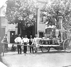 Louisville Fire Department and engine, circa 1874.