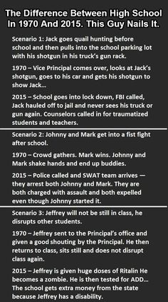 """High School In 1970 Vs 2015. This Is So Accurate It Hurts.""""Click on pic for rest of picture"""""""