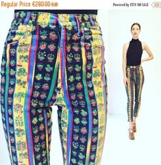 2f4db098328c Vtg Gianni Versace Jeans Couture Print Pants