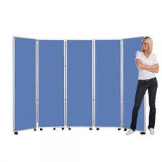 Mobile Folding Room Divider, 5 panel, 1800mm high, Intervene Fabric