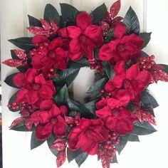 Beautiful Burgundy Red Magnolia Wreath. Christmas /Holidays/Winter Wedding. Elegant Velvet Flowers, Glittered Berry Sprays, Magnolia Leaves.