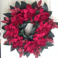 Beautiful Burgundy Red Magnolia Wreath. Christmas /Holidays/Winter Wedding. Elegant Velvet Flowers, Glittered Berry Sprays, Magnolia Leaves.