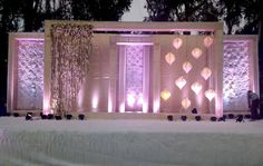 """Amaraay : The Event Diaries """"Frames in Frames in Frames ! Flower wall cloth with Moroccan hangings. In budget Decor."""" Wedding Designs, Wedding Stage Design, Wedding Set Up, Marriage Decoration, Wedding Decorations On A Budget, Engagement Decorations, Wedding Function, Wedding Mandap, Wedding Reception Backdrop"""