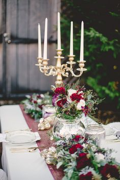 Marsala and gold elegant wedding table Marsala Wedding Tablescape - RedboatPhotography.net