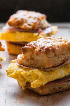Garlic Cheddar Biscuit Breakfast Sandwich