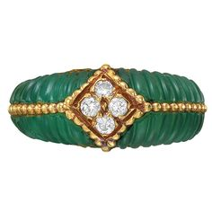 Van Cleef & Arpels Gold, Chrysophrase & Diamond Ring | From a unique collection of vintage fashion rings at http://www.1stdibs.com/jewelry/rings/fashion-rings/