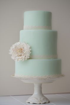Mint green cake with vintage sugar dahlia by Erica OBrien Cake Design
