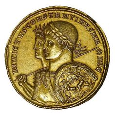 Who Was Constantine the Great?: Gold multiple medallion minted in Ticinum, 313 AD. Busts of Constantine with Sol Invictus. Cabinet des M Ancient Roman Coins, Ancient Rome, Ancient History, Constellations, Primary History, Constantine The Great, Gold And Silver Coins, Barns, Temples