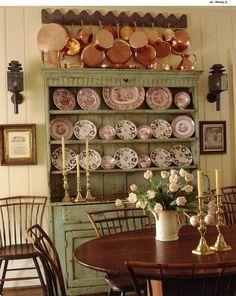 beautiful copper pots transferware scottish cupboard