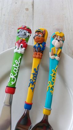 ''A deal for a Happy Meal! No more fussy eaters, only meal 'beaters'.'' Personalized Childrens Cutlery Set, Paw patrool Themed This set comprises stainless steel fork and spoon wrapped in polymer clay, baked and lacquered with acrylic primer for protection. All design elements are