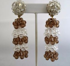 Vintage COPPOLA e TOPPO Acrylic Multi Faceted Beaded Dangle Earrings Signed