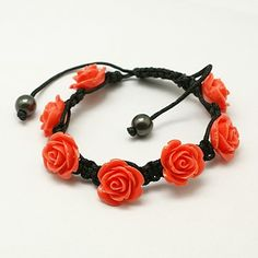 Fashion Shamballa Bracelet, with Synthetic Coral Flower, Hematite Beads and Nylon Cord, OrangeRed, Inner Diameter: 48mm