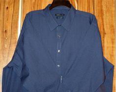 NWT Men's Van Heusen Blue Striped Long Sleeve Dress/Casual Shirt Size 18/18 1/2