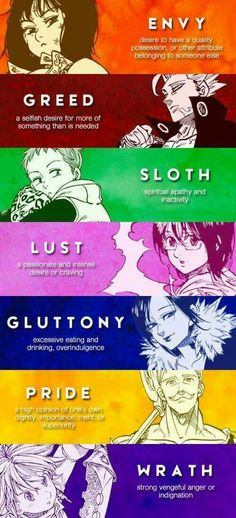 The seven deadly sins.I know it's pictures are from another anime but it's still related to Servamp Bts Anime, Film Anime, Manga Anime, Otaku Anime, Anime Cosplay, Anime Art, Seven Deadly Sins Anime, 7 Deadly Sins, Sloth Deadly Sin