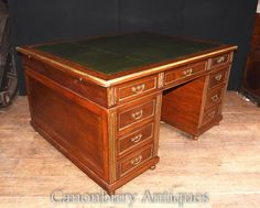 Antique French Napoleon III Partners Desk Mahogany Writing Table French Desk, Partners Desk, Antique Desk, Writing Table, Office Set, Antique Market, Green Leather, French Antiques