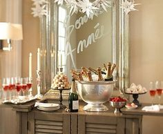 What a great way to serve up tasty treats! Use a mirror as a backdrop ~ New Years Party Ideas~