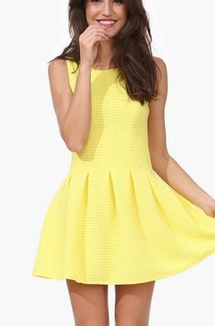 The perfect sunny yellow dress. Paired with cork sandals will be cute for a warm spring and summer day! #style