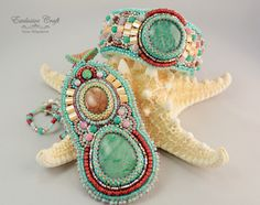 "Bead embroidery jewelry set ""Spring Dawn"" by Exclusive Craft"