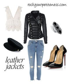 """Rock that leather jacket!"" by rockyourpetiteness on Polyvore featuring moda, River Island, Topshop, Christian Louboutin, Manokhi e Palm Beach Jewelry"
