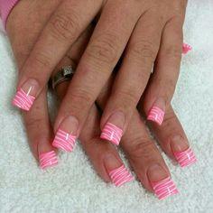 Zebra nail art design pink & white
