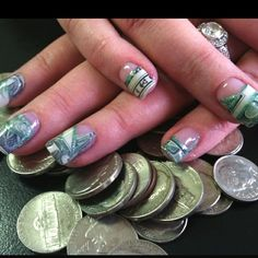 Dollar bills in my accountants gel nails. Perfect for tax time! by gina