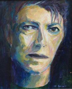 "Daily Paintworks - ""David Bowie Blue 8 x 10"" - Original Fine Art for Sale - © Beth Carrington Brown"