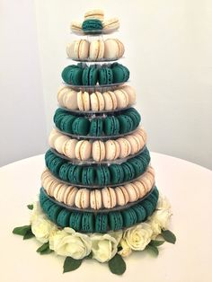Contemporary Macaron Tower by Ganache Macaron for Peaches & Cream exhibition   Premium Handmade French Macarons in London www.ganache-macaron.co.uk