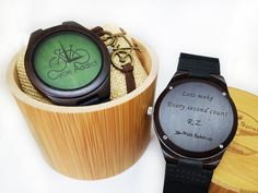 Personalized bicycle wood watches by Walk Spirit. Unique design, meaningful gift!
