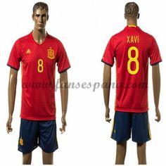 Camisetas De Futbol Barata España 2016 Xavi 8 Primera Equipación