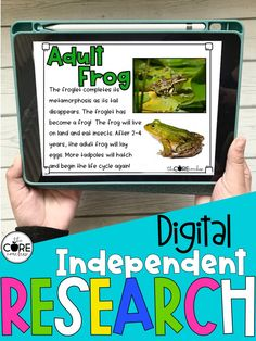 Students guide themselves through a digital independent research project. They listen to or read a text, complete activities, watch video clips, write, and submit answers to quiz.