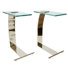 Pair of Pace Chrome and Glass Side/Drink Tables | From a unique collection of antique and modern side tables at http://www.1stdibs.com/furniture/tables/side-tables/