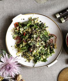 Caramelized Brussels Sprouts and Kale With Crispy Capers - Real Simple (http://www.realsimple.com/food-recipes/browse-all-recipes/caramelized-brussels-sprouts-kale-crispy-capers)