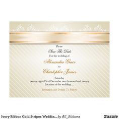 Shop Ivory Ribbon Gold Stripes Wedding Save the Date Announcement Postcard created by All_Ribbons. Striped Wedding, Save The Date Postcards, Gold Stripes, Wedding Save The Dates, Postcard Size, Smudging, Paper Texture, Announcement, Ribbon