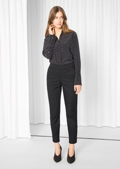 & Other Stories High Waisted Trousers  in Black