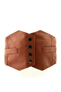This waist belt crafted in PU, featuring vest design of front with press stud fastening, a wide-cut design, an elasticated insert to the reverse.$39