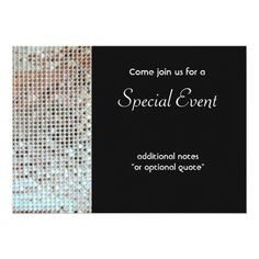 Shop Silver Sequins Invitation Card created by pixiestick. Gala Invitation, Cocktail Party Invitation, Custom Invitations, Invitation Cards, Party Invitations, Invites, Sequin Cards, New Years Eve Invitations, Silver Sequin