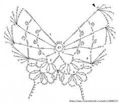 Crochet diagram for a butterfly. (page not in English) Appliques Au Crochet, Crochet Motifs, Crochet Diagram, Freeform Crochet, Crochet Chart, Crochet Doilies, Crochet Lace, Crochet Stitches, Crochet Patterns