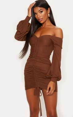 Chocolate Brown Ribbed Bardot Balloon Sleeve Ruched Bodycon Dress - The Chocolate Brown Ruched Bodycon Dress. Head online and shop this season's range of dresses at PrettyLittleThing. Express delivery available. Source by leonfurche - Bodycon Dress Formal, Formal Evening Dresses, Tight Dresses, Short Dresses, Women's Dresses, Ruched Dress, Mannequins, Ladies Dress Design, The Dress