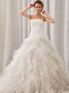 >> Click to Buy << Romantic Sexy Ball Gown Wedding Dresses Ruffles Strapless Casamento Robe De Mariage Vestidos De noiva Curto Wedding Dresses #Affiliate