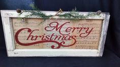 Items similar to Repurposed Vintage Old Window, Rustic Merry Christmas ,Old Music Decor on Etsy Vintage old window single pane window sash. Measures X X D Decal on front reads Merry Christmas. Backed with antique sheet music Christmas Signs, Rustic Christmas, Christmas Projects, All Things Christmas, Winter Christmas, Holiday Crafts, Vintage Christmas, Christmas Holidays, Christmas Decorations