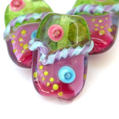 Carnival  Colorful Handmade Lampwork Glass Bead Set by sarahhornik