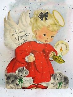 Vintage Hallmark Christmas Angel With Kittens Feather Stand Up Card/decoration Mini Christmas Ornaments, Christmas Card Images, Vintage Christmas Images, Old Christmas, Retro Christmas, Vintage Holiday, Christmas Pictures, Christmas Angels, Hallmark Christmas