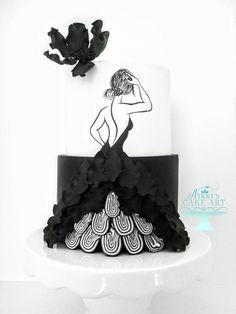 This cake was made for a monochrome collaboration for Around the World in Sugar. The girl is handpainted, the dress is gum paste petals as well as cut modeling chocolate pieces. Gorgeous Cakes, Pretty Cakes, Amazing Cakes, Silhouette Cake, Girly Cakes, Modern Cakes, Barbie Cake, Cakes For Women, Dress Cake