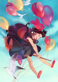 Kiki and Gigi, studio ghibli Hayao Miyazaki, Studio Ghibli Films, The Cat Returns, Kiki Delivery, Speed Paint, Howls Moving Castle, Totoro, Kawaii Anime, Character Design
