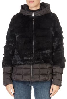 This is the stunning Rabbit Two Piece Black Puffer Coat from our friends at Pregio! A cosy piece with a double central zip fastening, side pockets, and a detachable hood and two pieces. This is the perfect piece to carry you into the colder season! Winter Coats Women, Winter Jackets, Puffer Coat With Fur, Green Shorts, Khaki Green, Two Pieces, Shop Now, Rabbit, Cosy