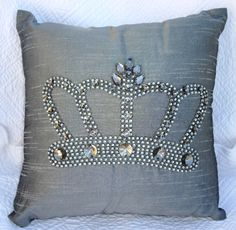 Silver Crown Bling Pillow  www.crownchic.com