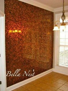 Wall made of pennies http://bellanest.blogspot.com.au/2012/02/out-of-ordinary-nook-wall.html?m=1